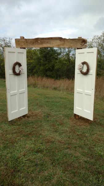 This beautiful piece resembles a doorway. It serves as a way to welcome guests to the wedding ceremony or a vintage arch to marry under.